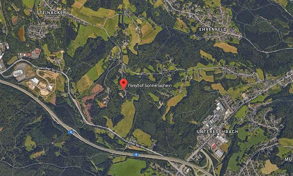 Der Ponyhof Sonnenschein liegt in Klein Hohn, zwischen Moitzfeld und Dürscheid