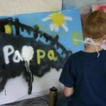 Kindertrauergruppe gestaltete Graffiti-Kunstwerke