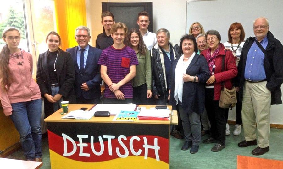 Besuch des Pszczynaer Gymnasiums – in diesem Raum findet der Deutschunterricht statt.