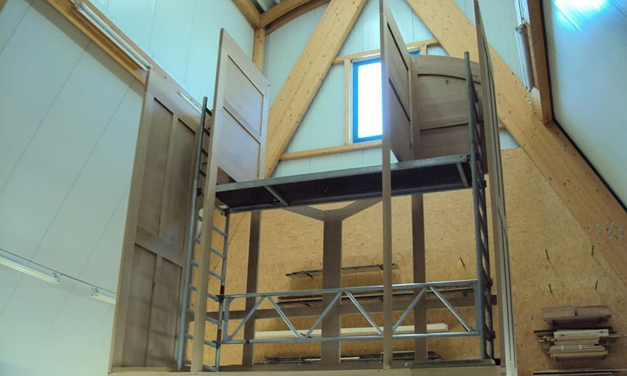 In der Mönchengladbacher Orgelwerkstatt entsteht gerade das Gehäuse für die neue Paffrather Orgel.