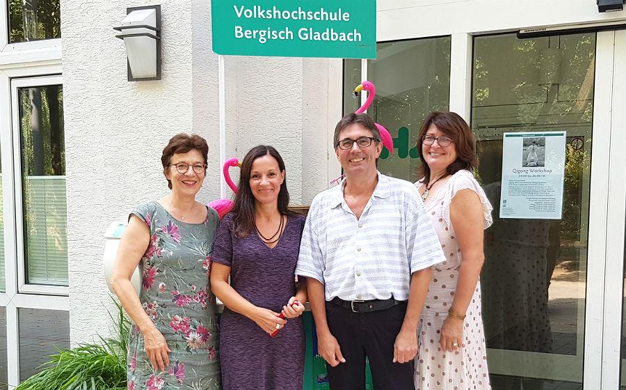 Das pädagogische Kernteam der VHS-Bergisch Gladbach: Cornelia Fuhrich, Elif Aksabun, Michael Buhleier und Heidrun Großmann