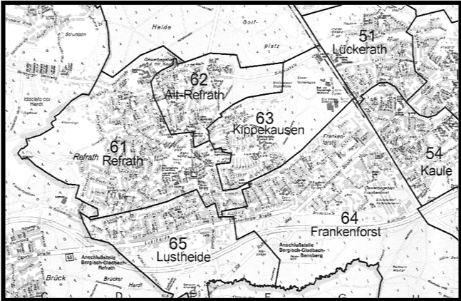Statistische Aufteilung des Stadtteiles Bergisch Gladbach-Refrath
