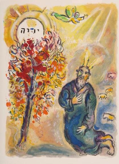 Marc Chagall: Mose und der brennende Dornbusch, 1966